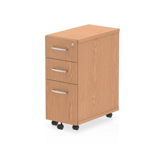Impulse Narrow Under Desk Pedestal 3 Drawer Oak