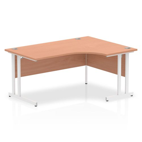 Impulse 1600 Right Hand White Crescent Cantilever Leg Desk Beech