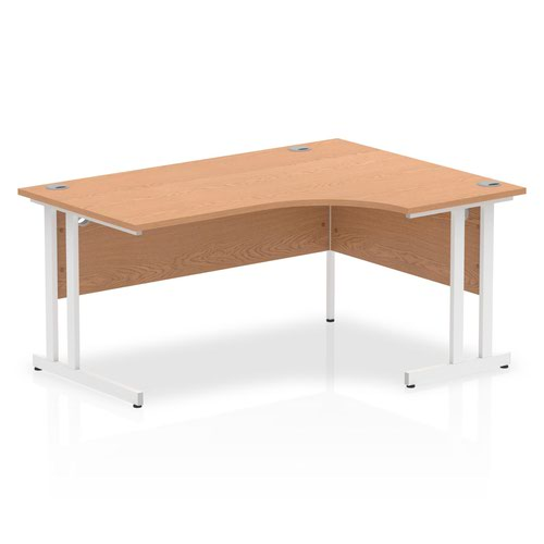 Impulse 1600 Right Hand White Crescent Cantilever Leg Desk Oak