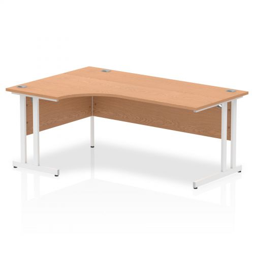 Impulse 1800 Left Hand White Crescent Cantilever Leg Desk Oak