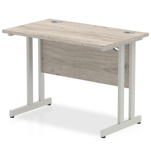 Impulse 1000 x 600mm Straight Desk Grey Oak Top Silver Cantilever Leg I003063