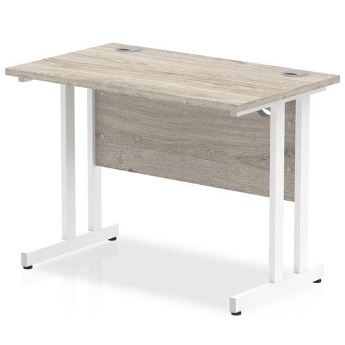 Impulse 1000 x 600mm Straight Desk Grey Oak Top White Cantilever Leg I003064