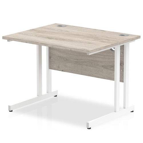Impulse 1000 x 800mm Straight Desk Grey Oak Top White Cantilever Leg I003065