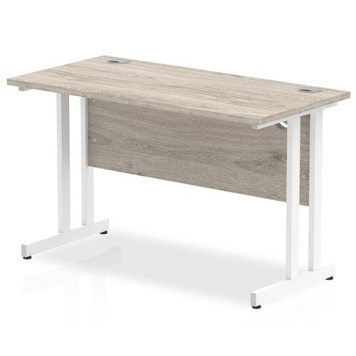 Impulse 1200 x 600mm Straight Desk Grey Oak Top White Cantilever Leg I003068