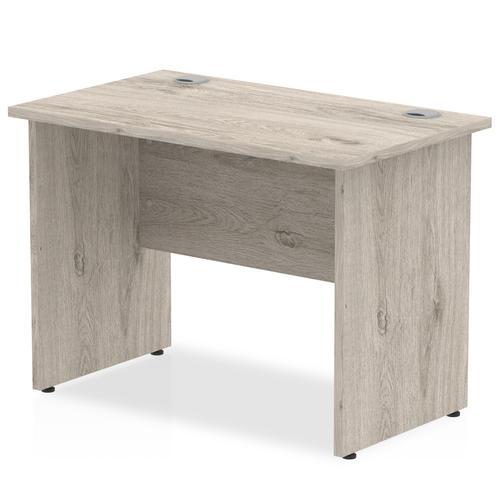 Impulse 1000 x 600mm Straight Desk Grey Oak Top Panel End Leg I003084