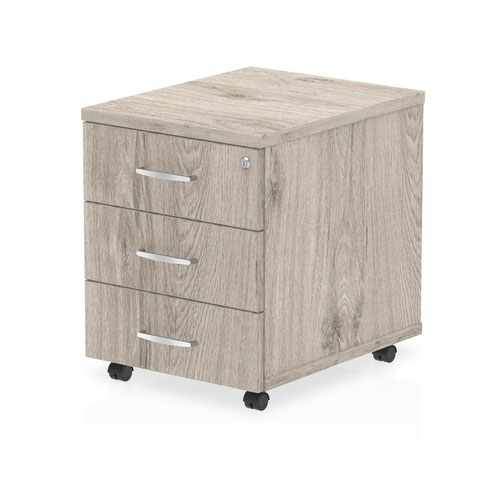 Impulse Mobile Pedestal 3 Drawer Grey Oak