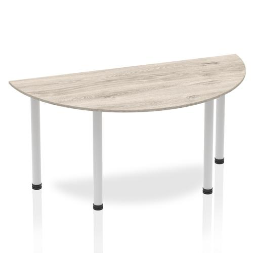Impulse Semi-circle Table 1600 Grey Oak Post Leg Silver