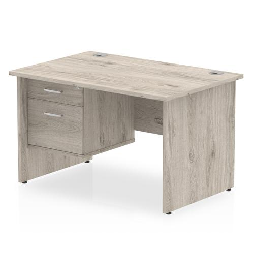 Impulse 1200 Rectangle Panel End Leg Desk Grey Oak 1 x 2 Drawer Fixed Ped