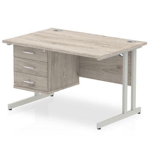 Impulse 1200 Rectangle Silver Cant Leg Desk Grey Oak 1 x 3 Drawer Fixed Ped