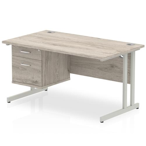 Impulse 1400 Rectangle Silver Cant Leg Desk Grey Oak 1 x 2 Drawer Fixed Ped