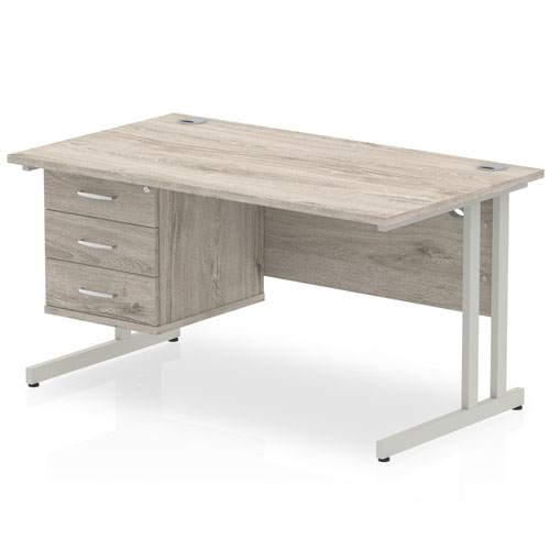 Impulse 1400 Rectangle Silver Cant Leg Desk Grey Oak 1 x 3 Drawer Fixed Ped
