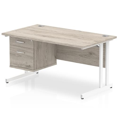Impulse 1400 Rectangle White Cant Leg Desk Grey Oak 1 x 2 Drawer Fixed Ped