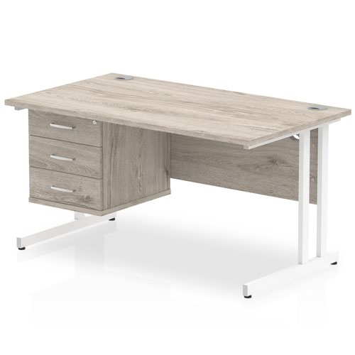Impulse 1400 Rectangle White Cant Leg Desk Grey Oak 1 x 3 Drawer Fixed Ped