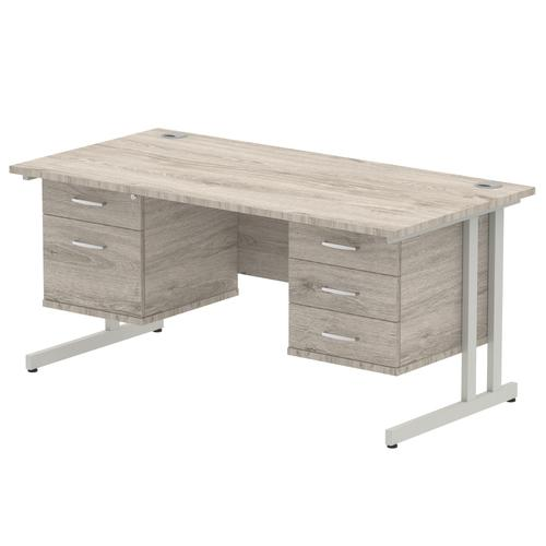 Impulse 1600 Rectangle Silver Cant Leg Desk Grey Oak 1 x 2 Drawer 1 x 3 Drawer Fixed Ped