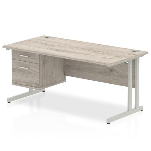 Impulse 1600 Rectangle Silver Cant Leg Desk Grey Oak 1 x 2 Drawer Fixed Ped