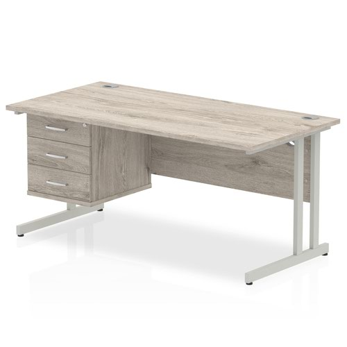 Impulse 1600 Rectangle Silver Cant Leg Desk Grey Oak 1 x 3 Drawer Fixed Ped