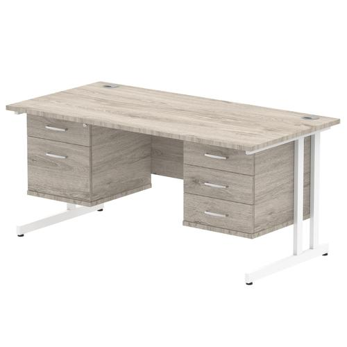 Impulse 1600 Rectangle White Cant Leg Desk Grey Oak 1 x 2 Drawer 1 x 3 Drawer Fixed Ped