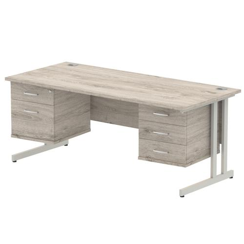Impulse 1800 Rectangle Silver Cant Leg Desk Grey Oak 1 x 2 Drawer 1 x 3 Drawer Fixed Ped