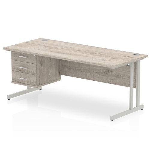 Impulse 1800 Rectangle Silver Cant Leg Desk Grey Oak 1 x 3 Drawer Fixed Ped