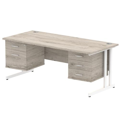 Impulse 1800 Rectangle White Cant Leg Desk Grey Oak 1 x 2 Drawer 1 x 3 Drawer Fixed Ped
