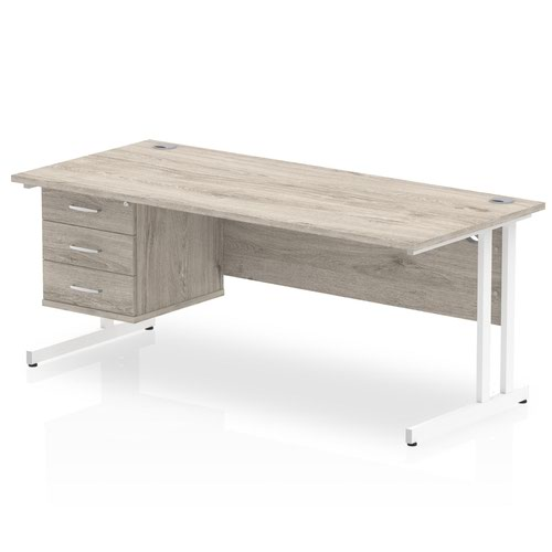 Impulse 1800 Rectangle White Cant Leg Desk Grey Oak 1 x 3 Drawer Fixed Ped