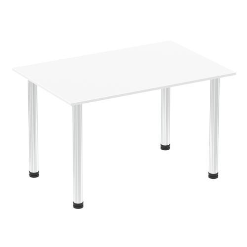 Impulse 1200mm Straight Table White Top Chrome Post Leg I003584