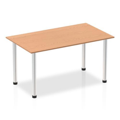 Impulse 1400mm Straight Table Oak Top Chrome Post Leg I003589