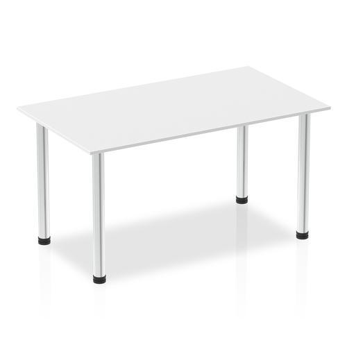 Impulse 1400mm Straight Table White Top Chrome Post Leg I003592