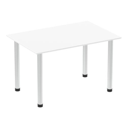 Impulse 1200mm Straight Table White Top Brushed Aluminium Post Leg I003632