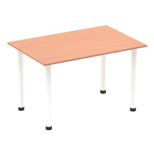 Impulse 1200mm Straight Table Beech Top White Post Leg I003679