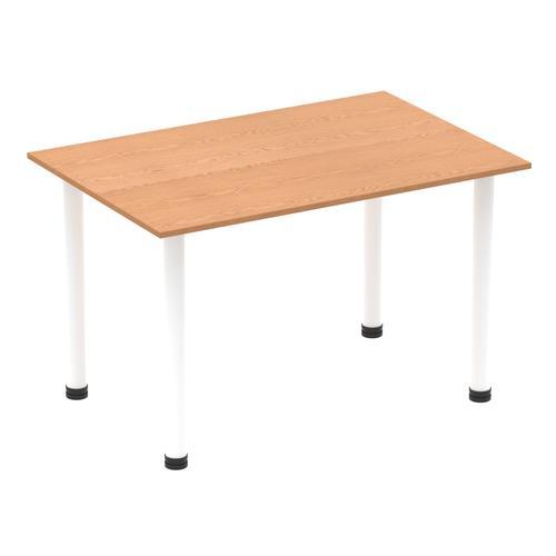 Impulse 1200mm Straight Table Oak Top White Post Leg I003681