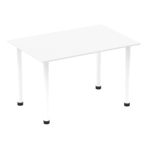 Impulse 1400mm Straight Table White Top White Post Leg I003688