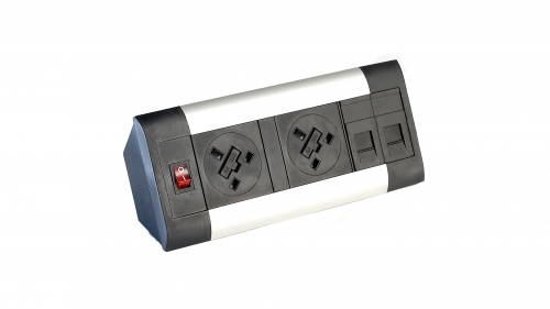 Impulse Desktop Module 2 x UK Sockets 1 x Neon Switch 1 x 500mm Lead to 3 Pole Connector with 2 x CAT5E Data