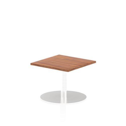 Italia Poseur Table Square 600/600 Top 475 High Walnut