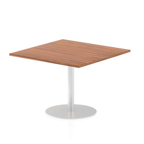 Italia Poseur Table Square 1000/1000 Top 725 High Walnut