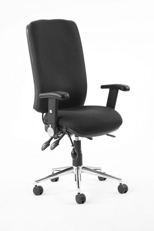 Chiro High Back Chair Black With Adjustable And Folding Arms KC0001