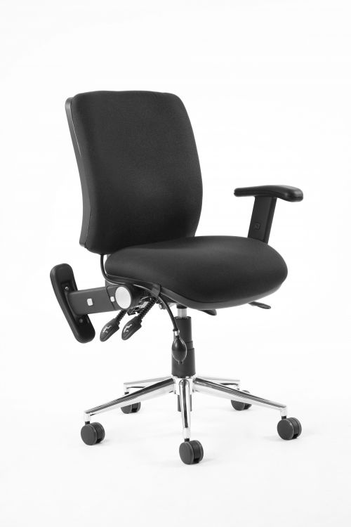 Chiro Medium Back Chair Black With Adjustable And Folding Arms KC0003