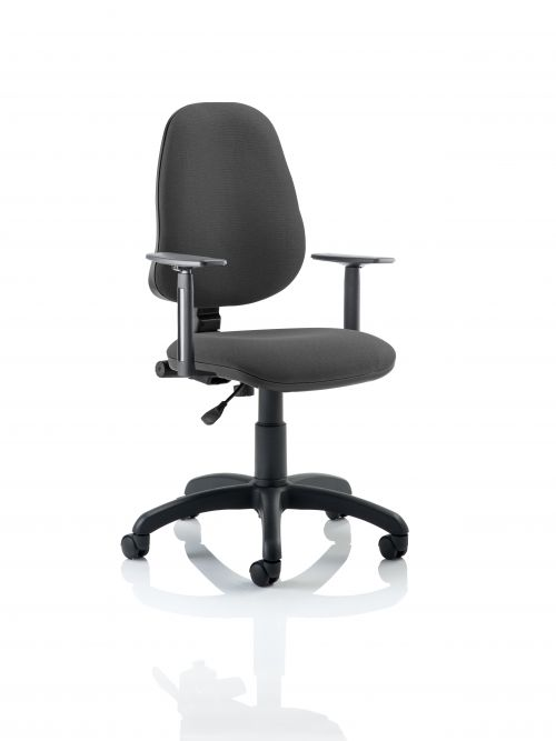 Eclipse Plus I Charcoal Chair With Adjustable Arms KC0020