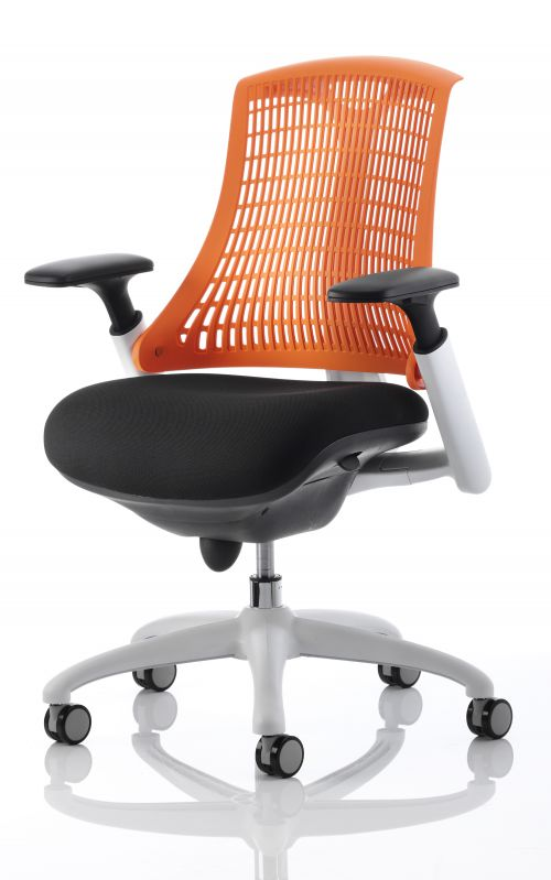 Flex Chair White Frame Back With Orange Back KC0059