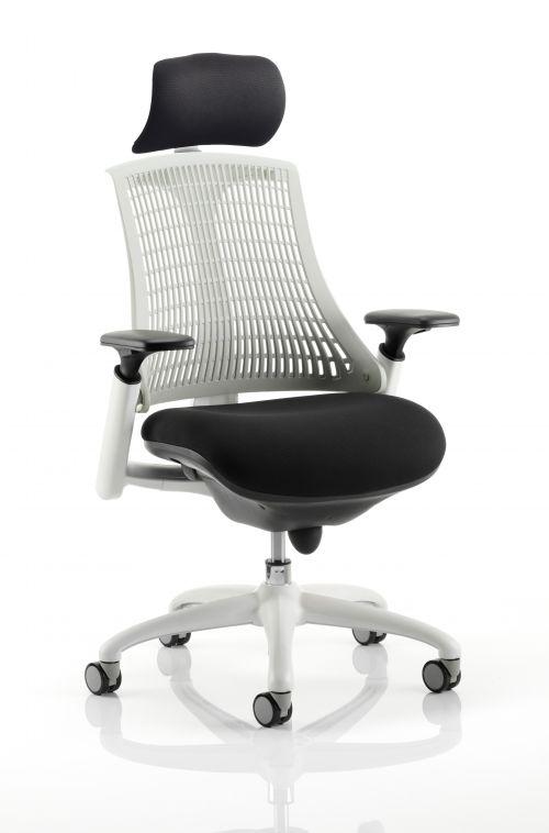 Flex Chair White Frame Moonstone White Back With Headrest KC0088