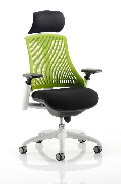 Flex Chair White Frame Green Back With Headrest KC0090