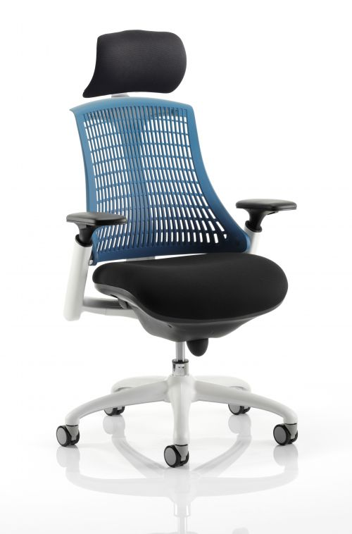 Flex Chair White Frame Blue Back With Headrest KC0092