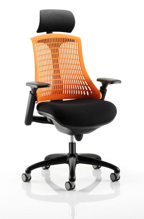 Flex Chair Black Frame With Orange Back With Headrest KC0107