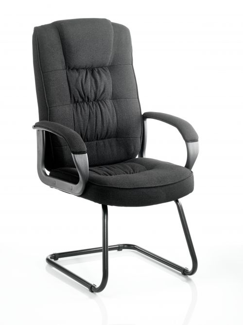 Moore Cantilever Visitor Chair Black Fabric With Arms KC0149