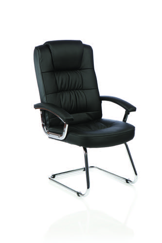 Moore Deluxe Cantilever Visitor Chair Black Leather With Arms KC0152