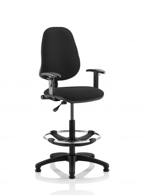 Eclipse Plus I Black Chair With Adjustable Arms With Hi Rise Kit KC0246