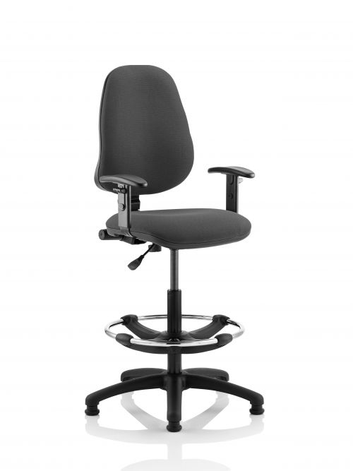 Eclipse Plus I Charcoal Chair With Adjustable Arms With Hi Rise Kit KC0248