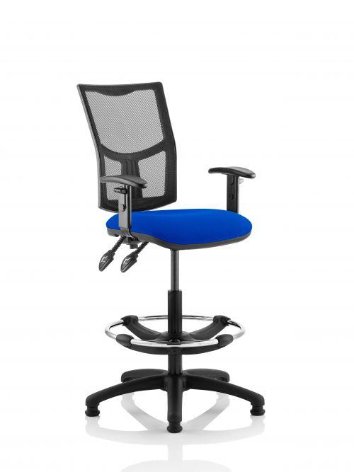 Eclipse Plus II Mesh Chair Blue Adjustable Arms Hi Rise Kit KC0270
