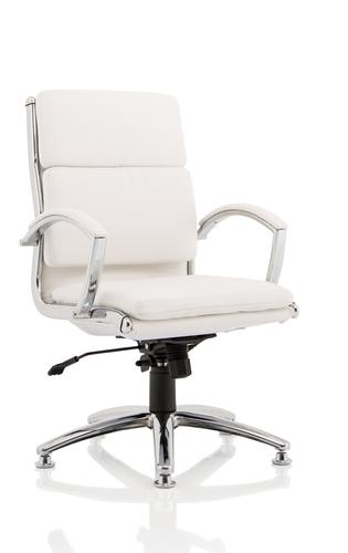 Classic Executive Medium Back Chair White with Chrome Glides KC0293