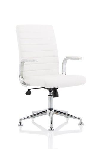 Ezra Executive Leather Chair White with Chrome Glides KC0294